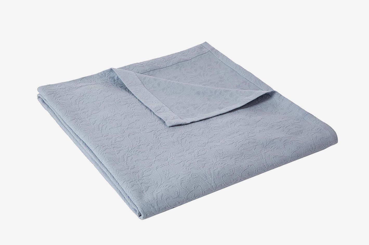 Pinzon Ivy Matelasse Cotton Coverlet, Full/Queen, Dusty Blue