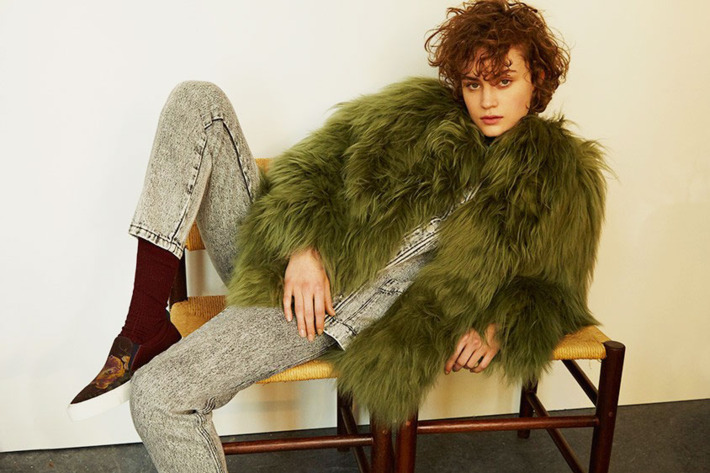 A woman wearing a shaggy coat and pants from French label Roseanna, featured in The Strategist's round up of emerging French designers to watch.