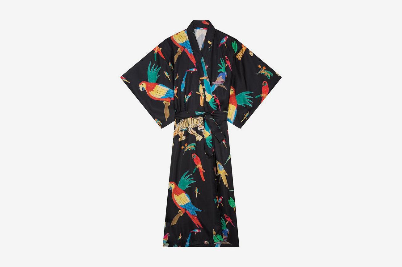 G. Kero Black Jungle Silk Kimono