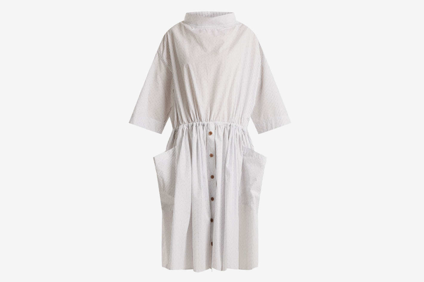 Lemaire Striped Stand-Collar Cotton Dress