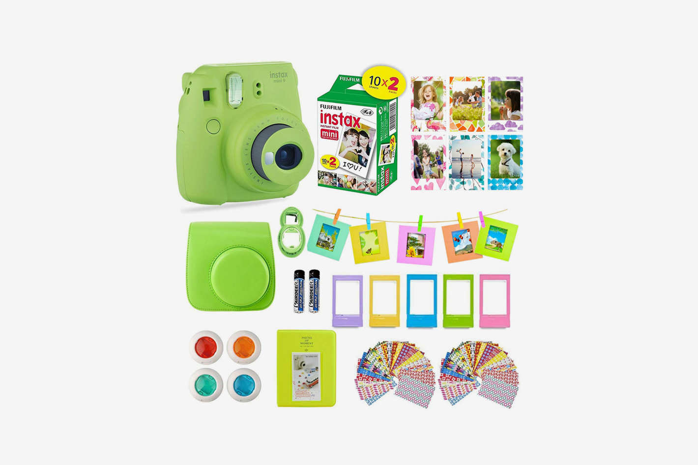 Fujifilm Instax Mini 9 Instant Camera + 14 Piece Instax Accessories Bundle