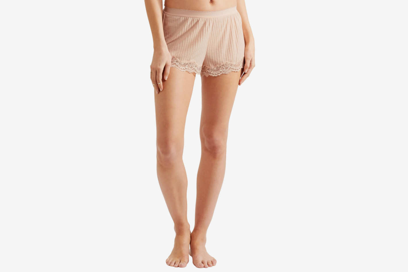 Stella McCartney Lace-Trimmed Ribbed Jersey Shorts