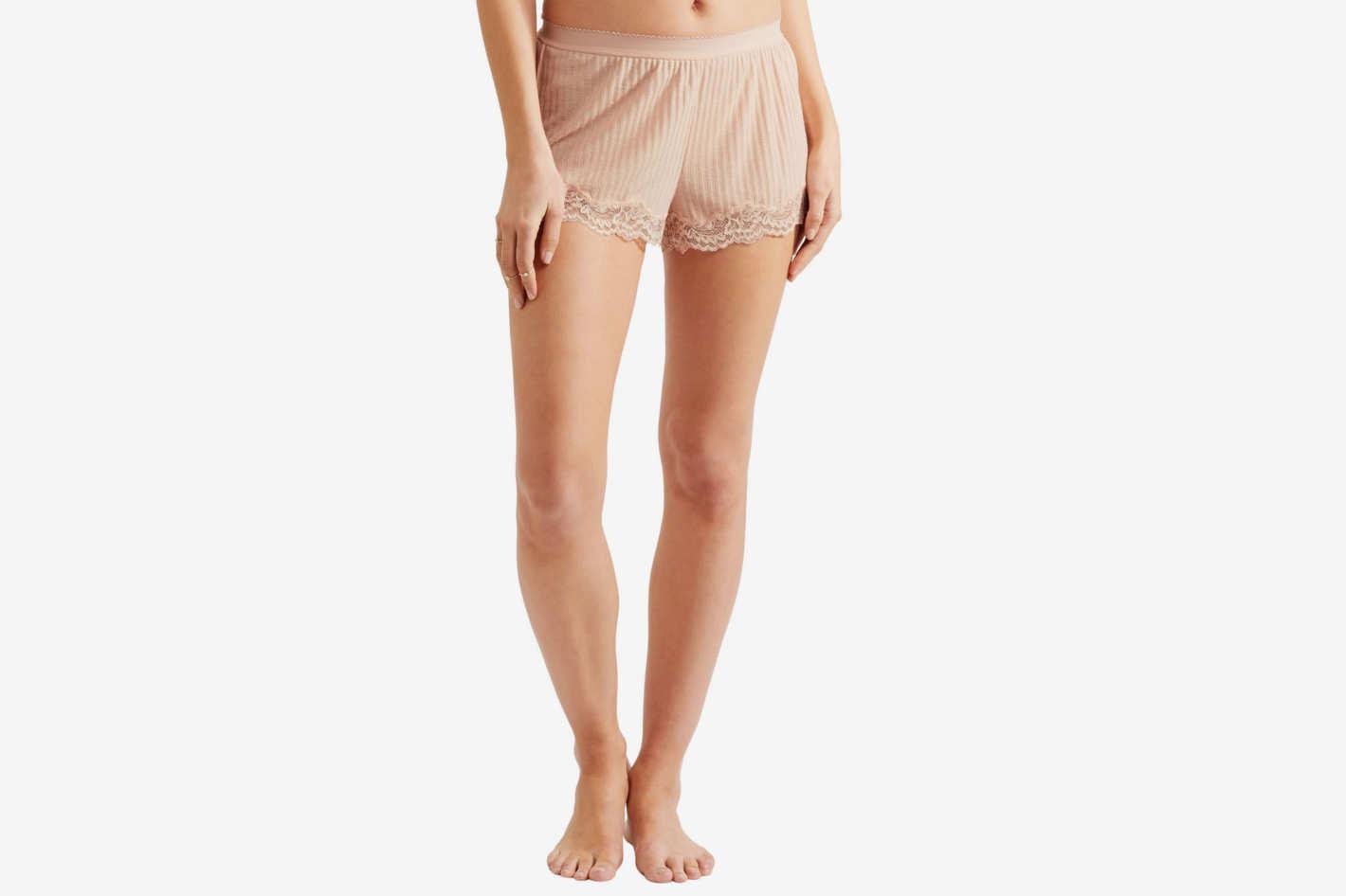 Stella McCartney Lace-Trimmed Ribbed Jersey Shorts