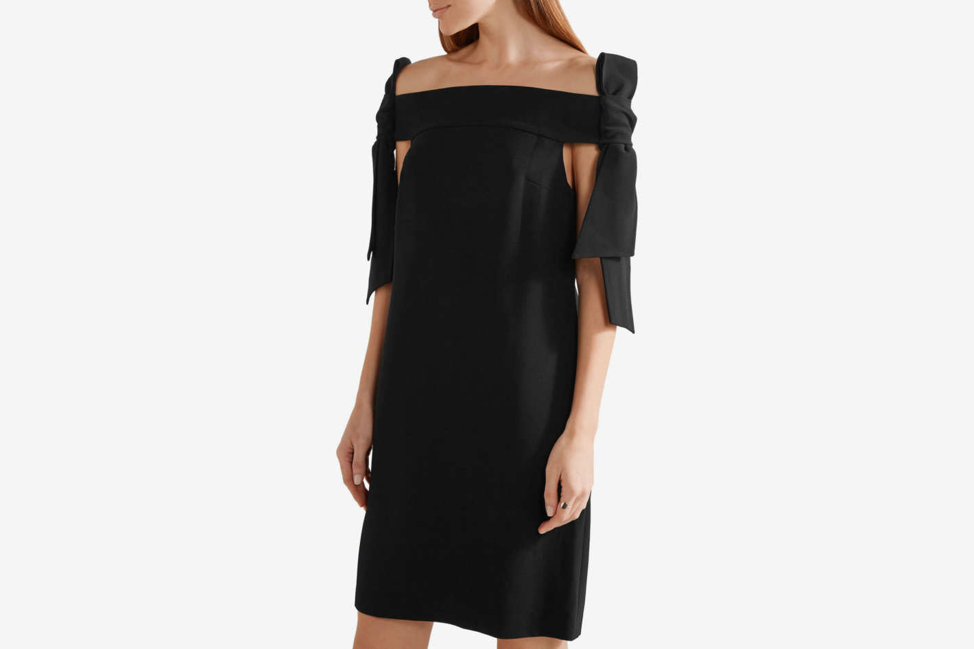 Tibi Off-the-Shoulder Bow-Embellished Crepe Mini Dress