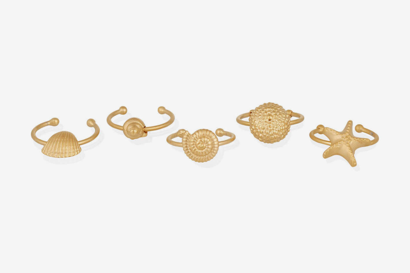 Valentino Set of Five Gold-Tone Rings