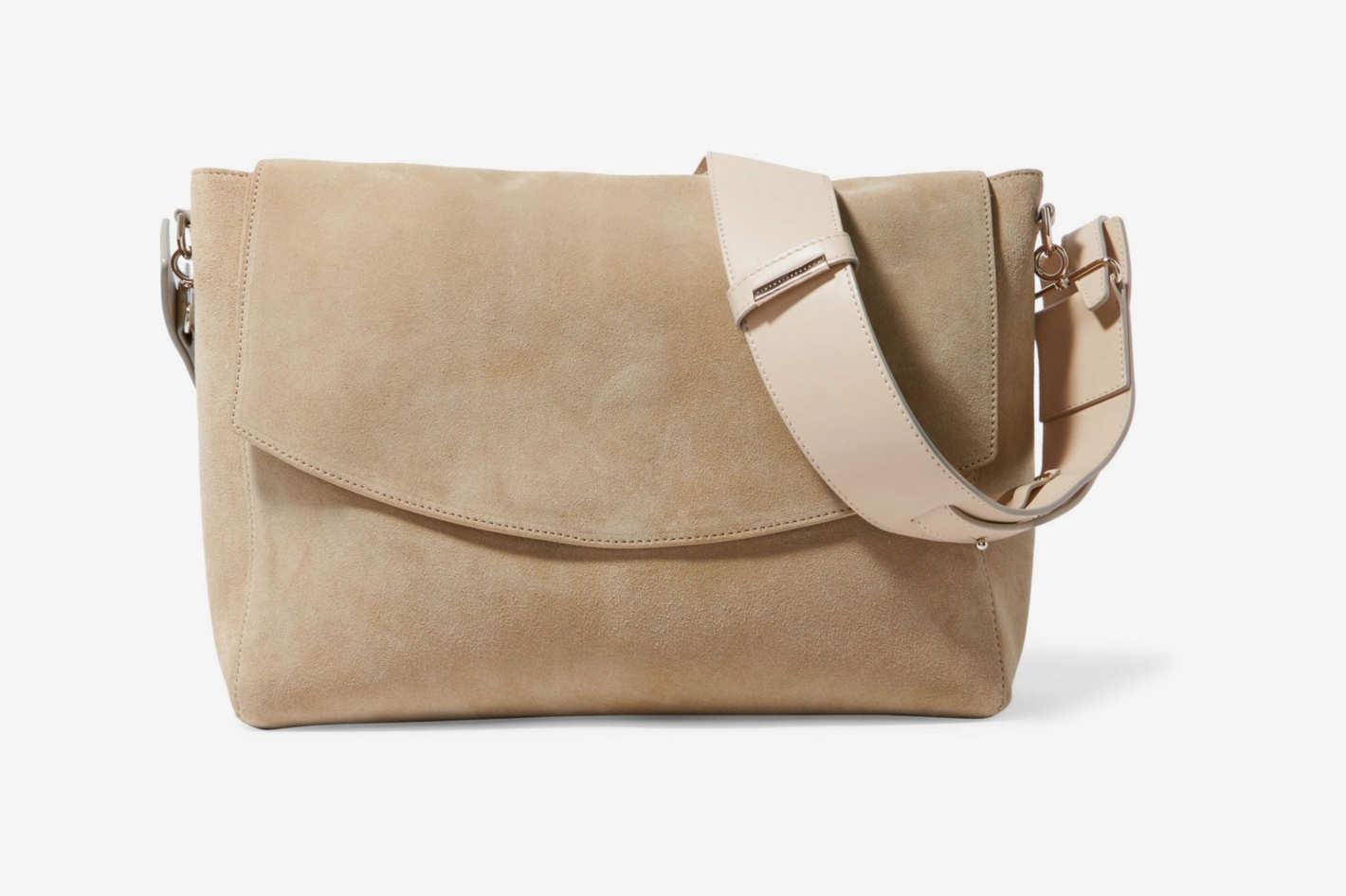 Victoria Beckham Leather-Trimmed Canvas Shoulder Bag