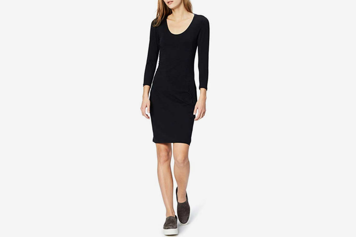 Daily Ritual Women's Stretch Supima Long-Sleeve Dress