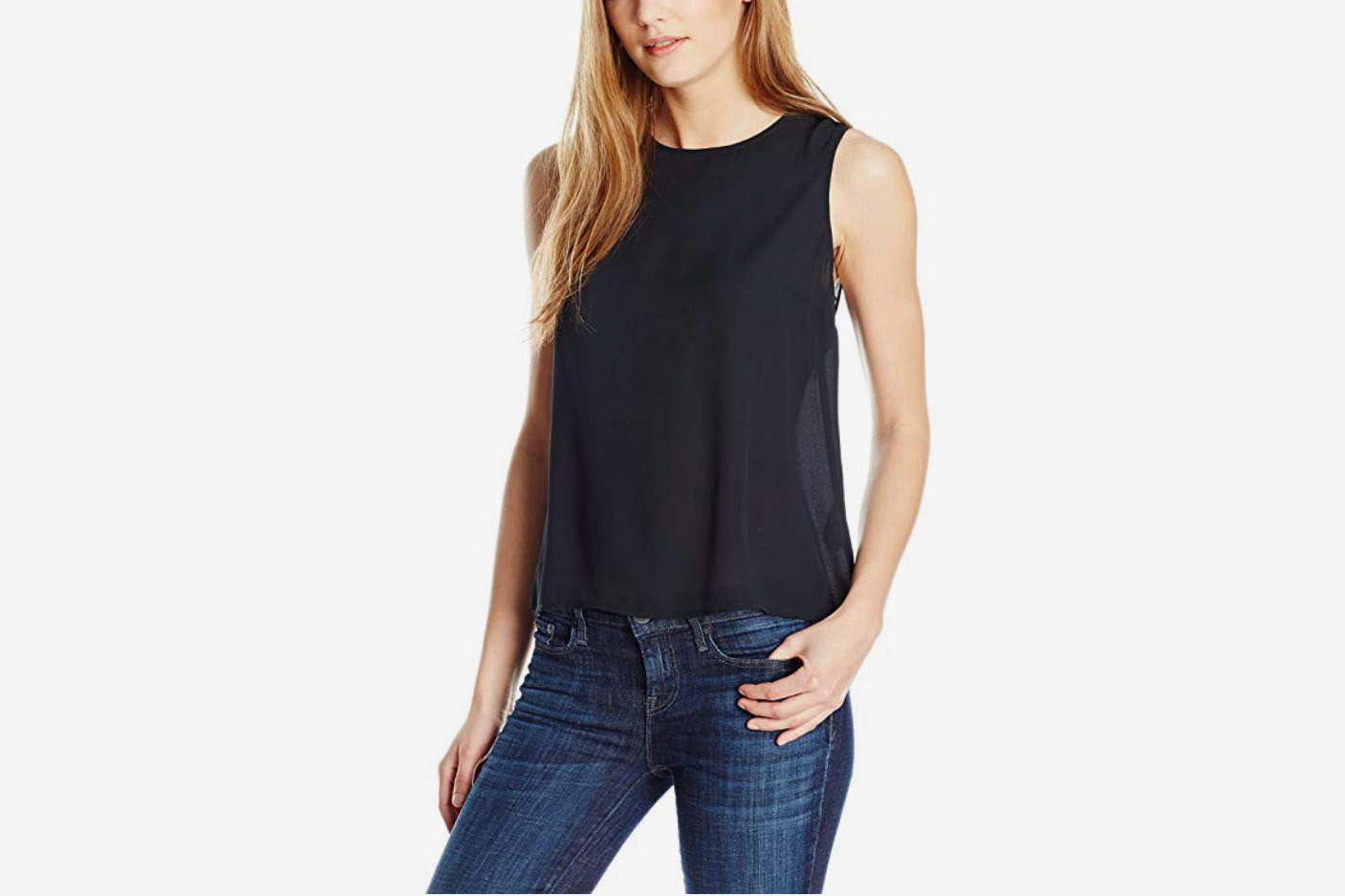 Essentialist Women's Silky Crepe Crossover Back Shell Top