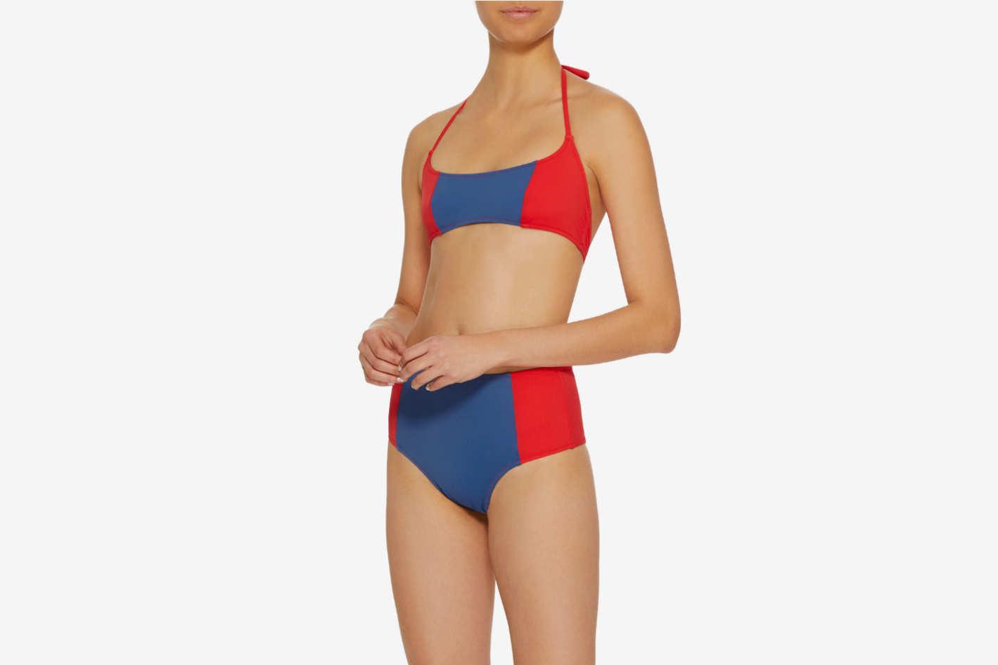 Solid & Striped Swim Team 2018 the Jessica Color-Block Bikini Top