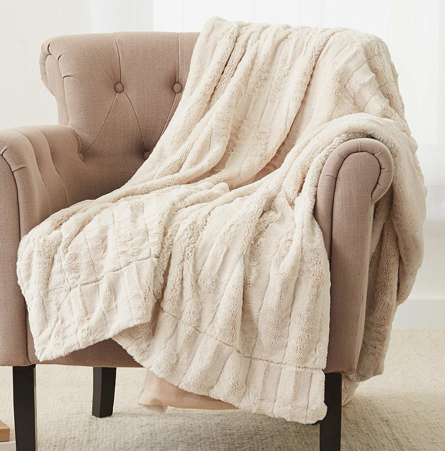 "Pinzon Faux Fur Throw Blanket 63"" x 87"", Ivory"