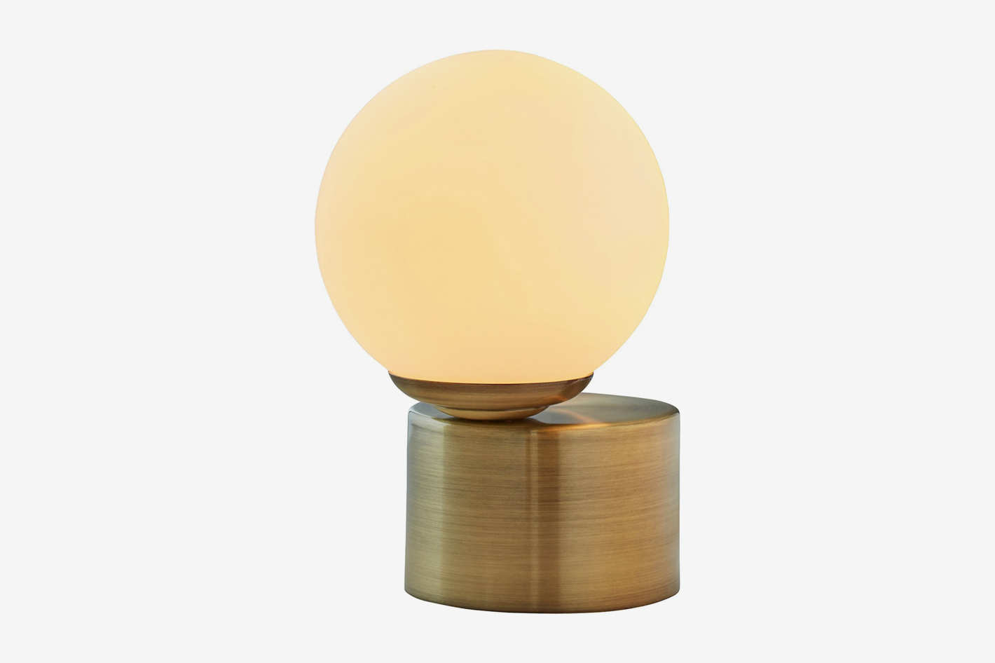 "Rivet Glass Ball Metal Table Lamp With Bulb, 10.5"" H, Brass Finish, White"