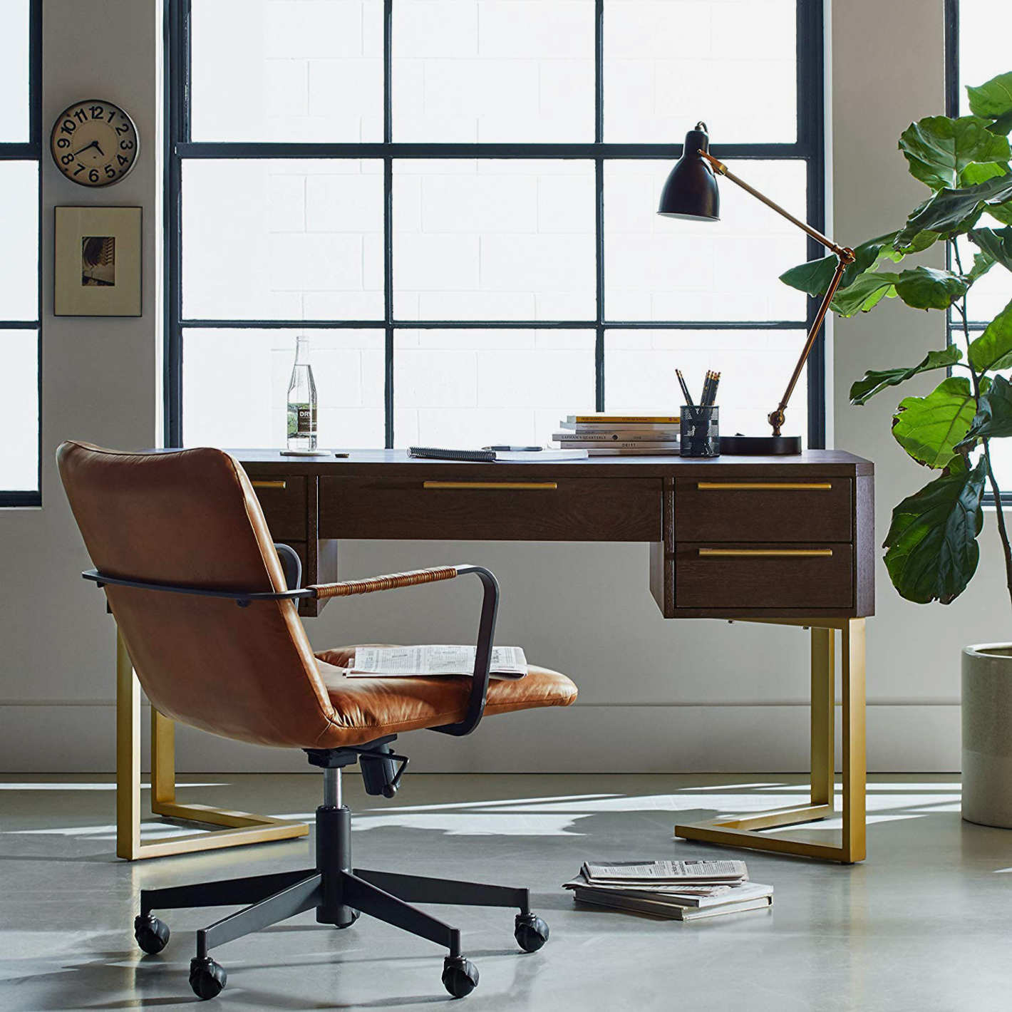 Rivet Mid-Century Leather Three-Panel Chair on Wheels