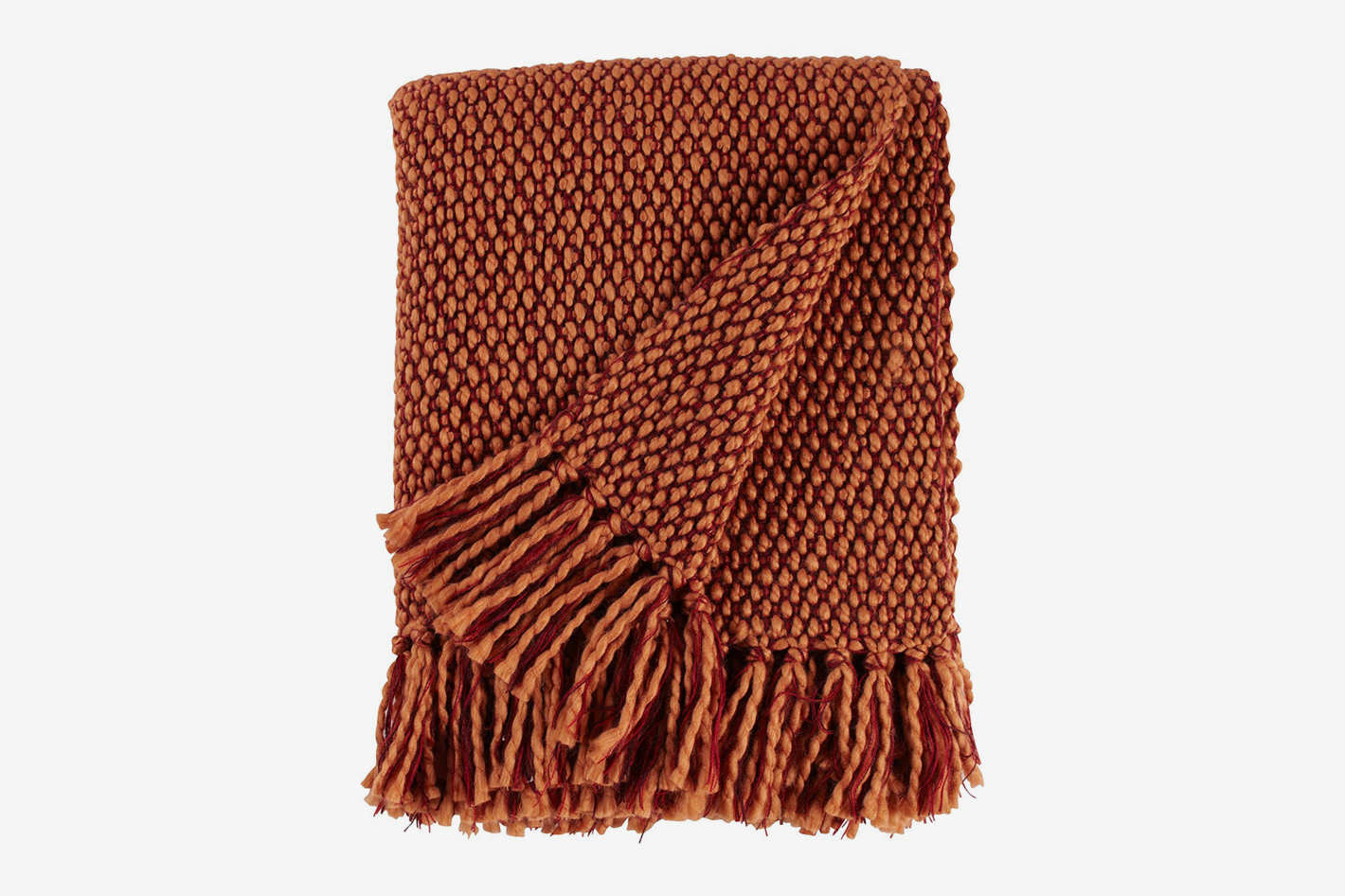 "Stone & Beam Modern Woven Farmhouse Throw, 50"" x 60"", Orange/Red"