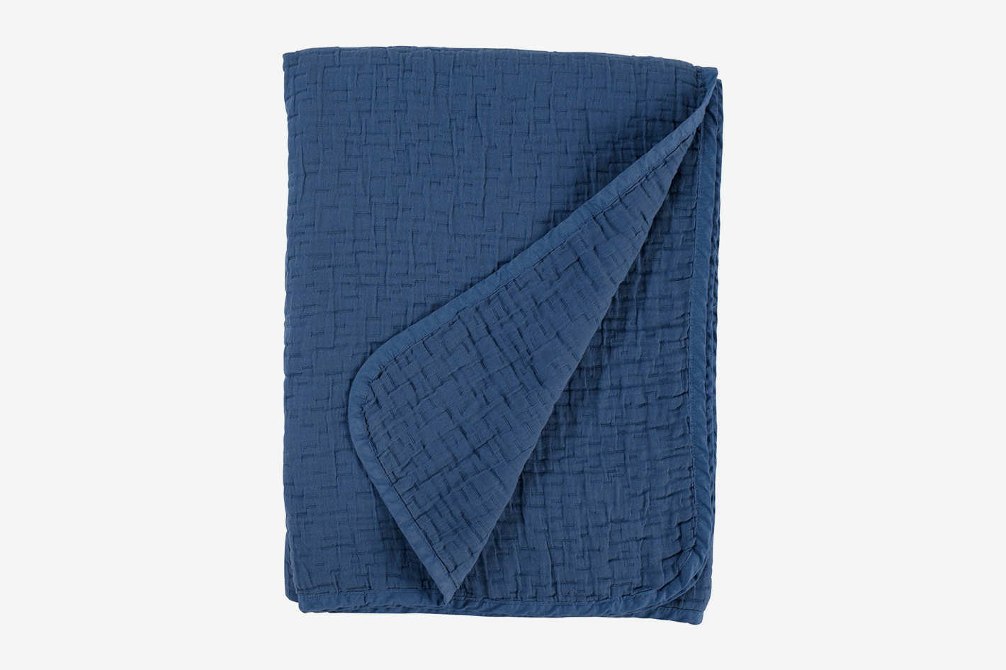 "Stone & Beam Locklar Pick-Stiched Blanket, 80"" x 60"", Navy"