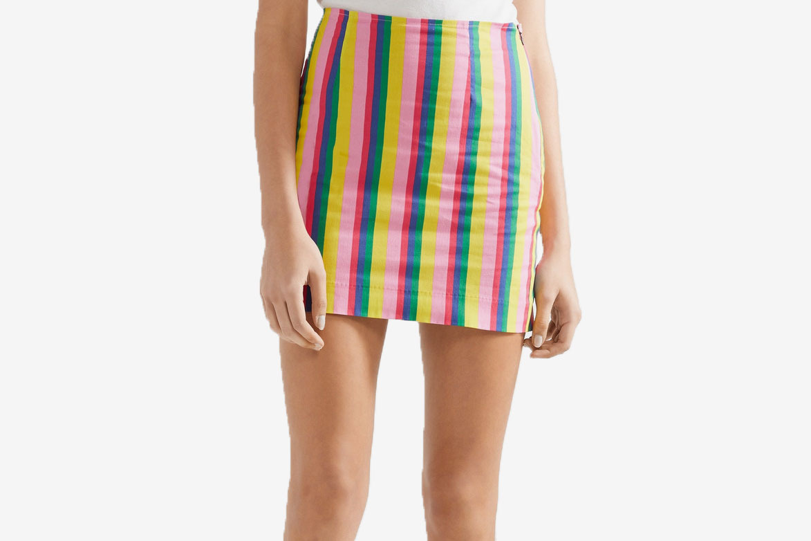 Staud Panda striped stretch-cotton poplin miniskirt