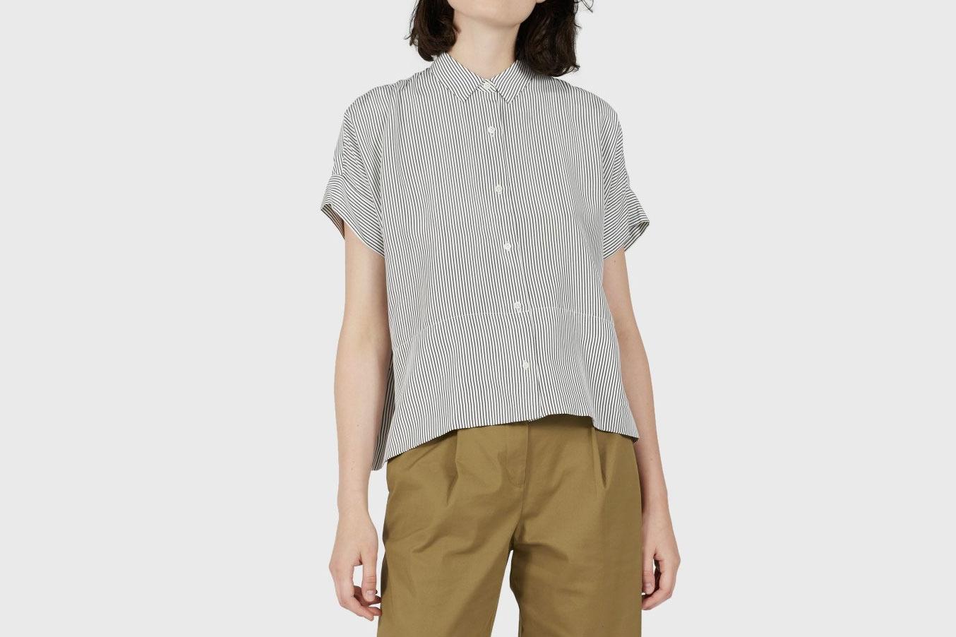 Everlane Silk Short-Sleeve Square Shirt in Black/White Stripe