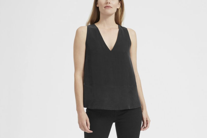 Everlane Double-Lined Silk V-Neck Tank