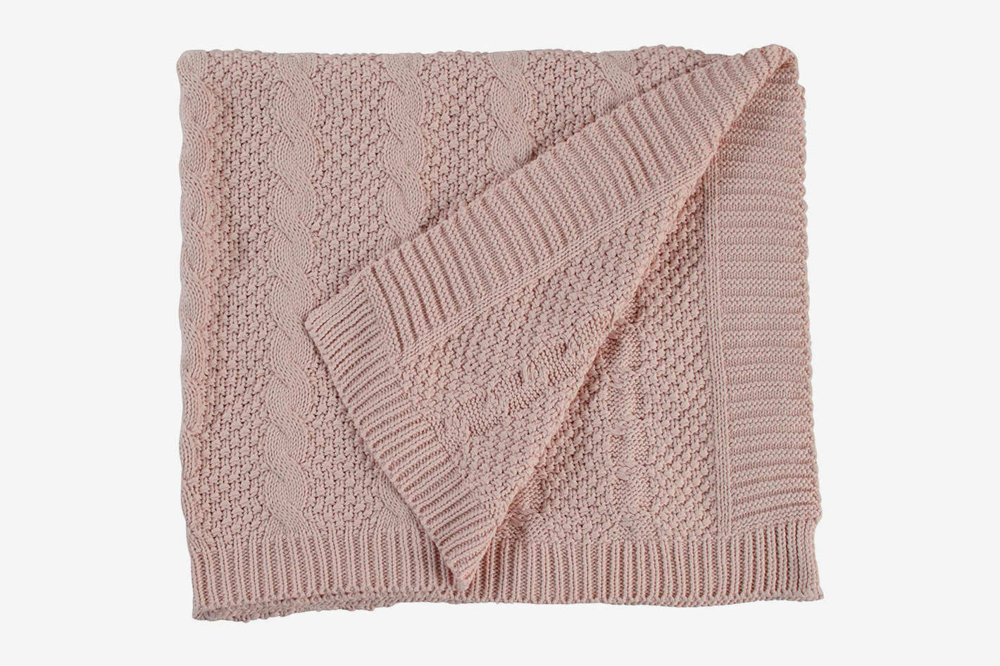 "Stone & Beam Transitional Chunky Cable Knit Throw, 70"" x 40"", Blush"
