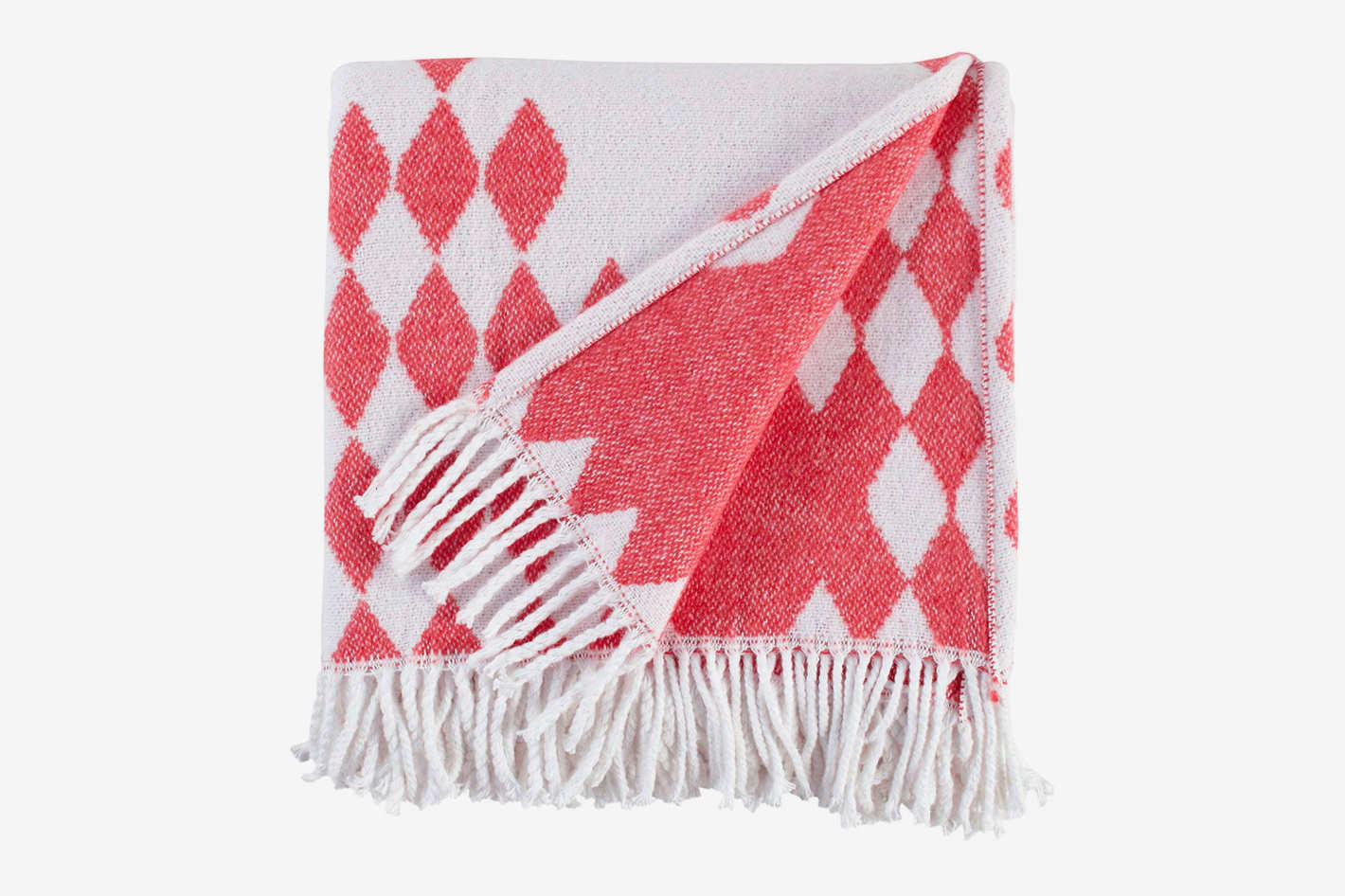 "Rivet Colorful Geometric Diamond Jacquard Reversible Throw Blanket, 50""x60"", Coral, White"