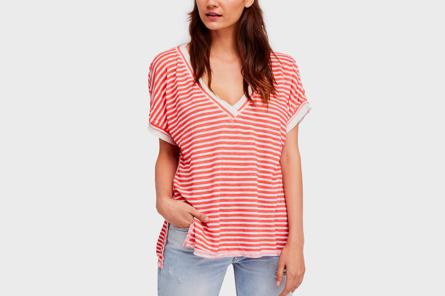 Free People Take Me Striped Contrast T-shirt