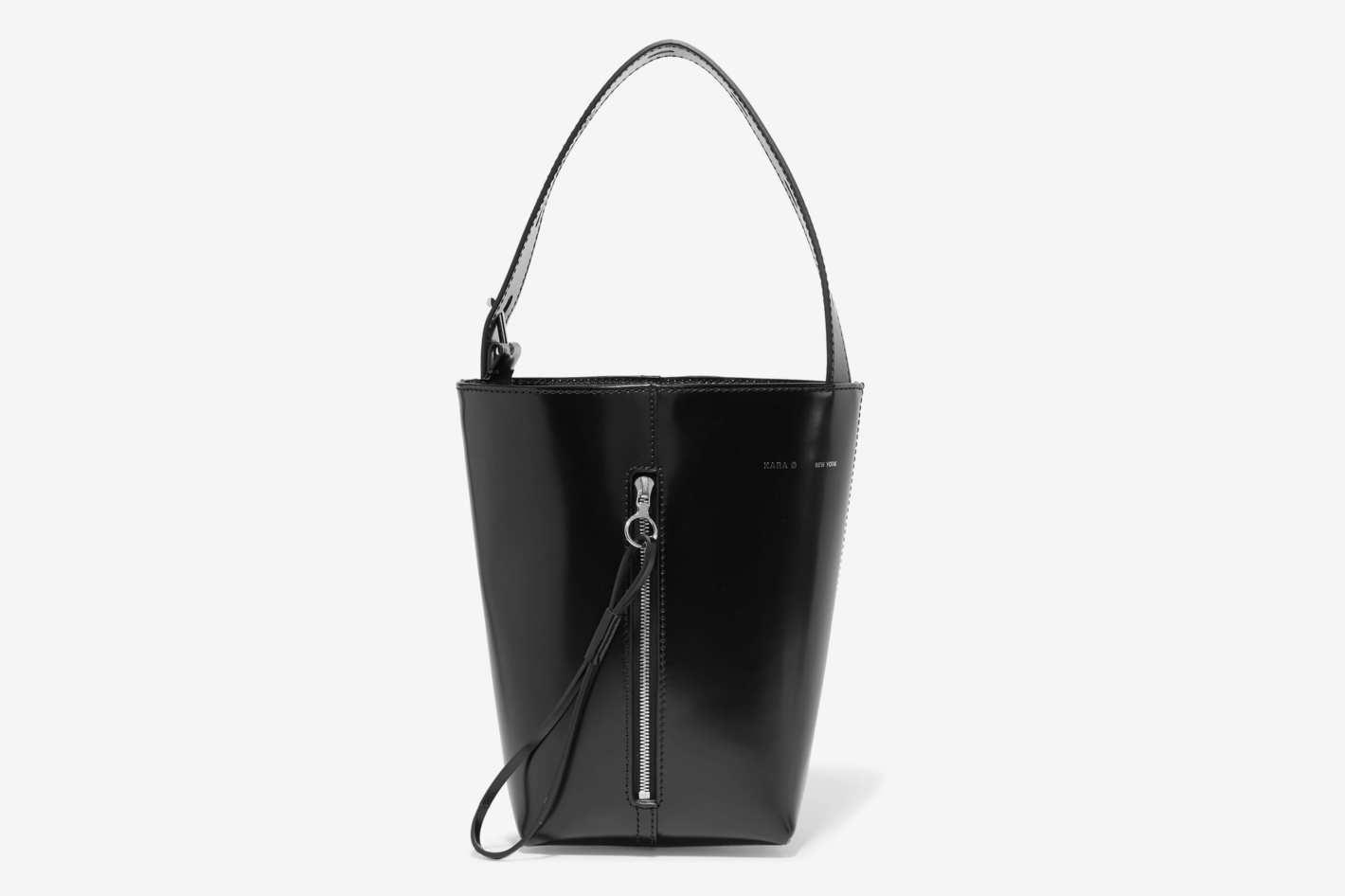 Kara Panel Pail Glossed-Leather Bucket Bag