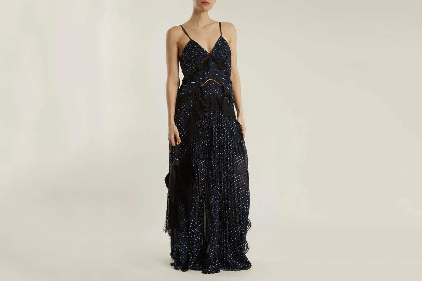 Self-Portrait Dobby-Dot Lace-Trimmed Pleated ress