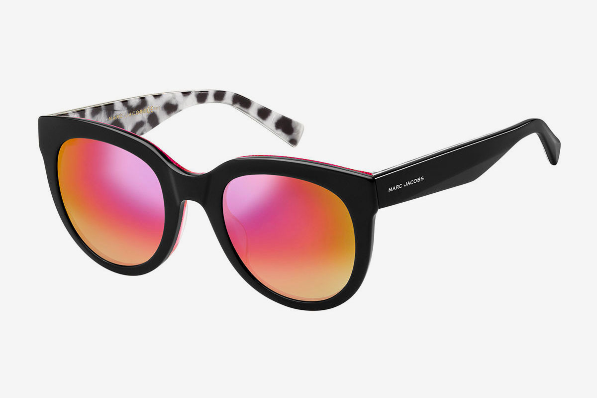 Marc Jacobs Round Mirrored Sunglasses With Glittered Interior
