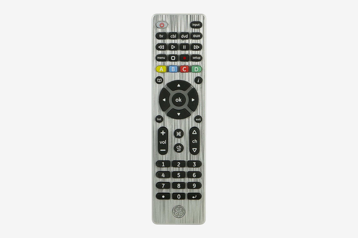 GE 33709 4-Device Universal Remote Control, Designer Series, Brushed Nickel
