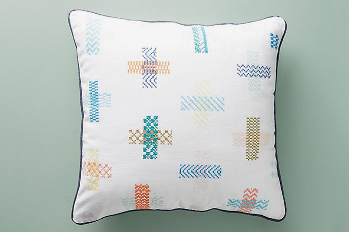 Hermine Van Dijck Cross-Stitched Pillow