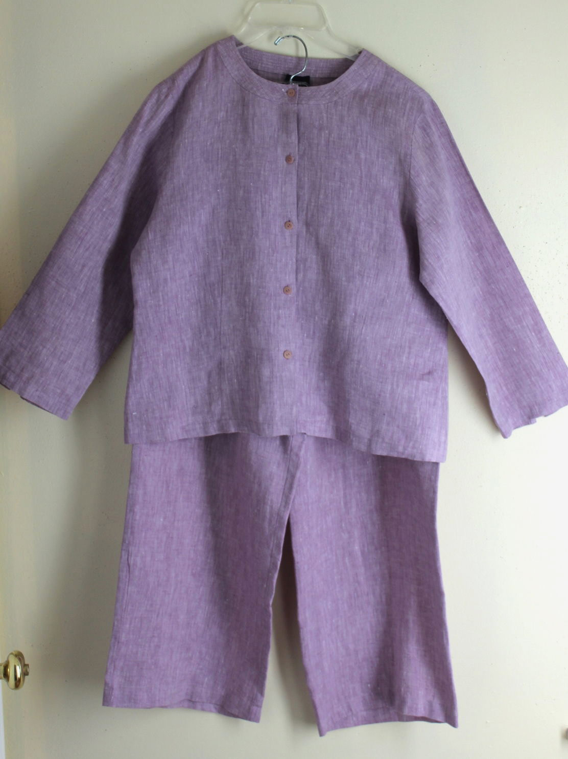 Eileen Fisher Lilac Linen Blouse Trouser Pants Outfit