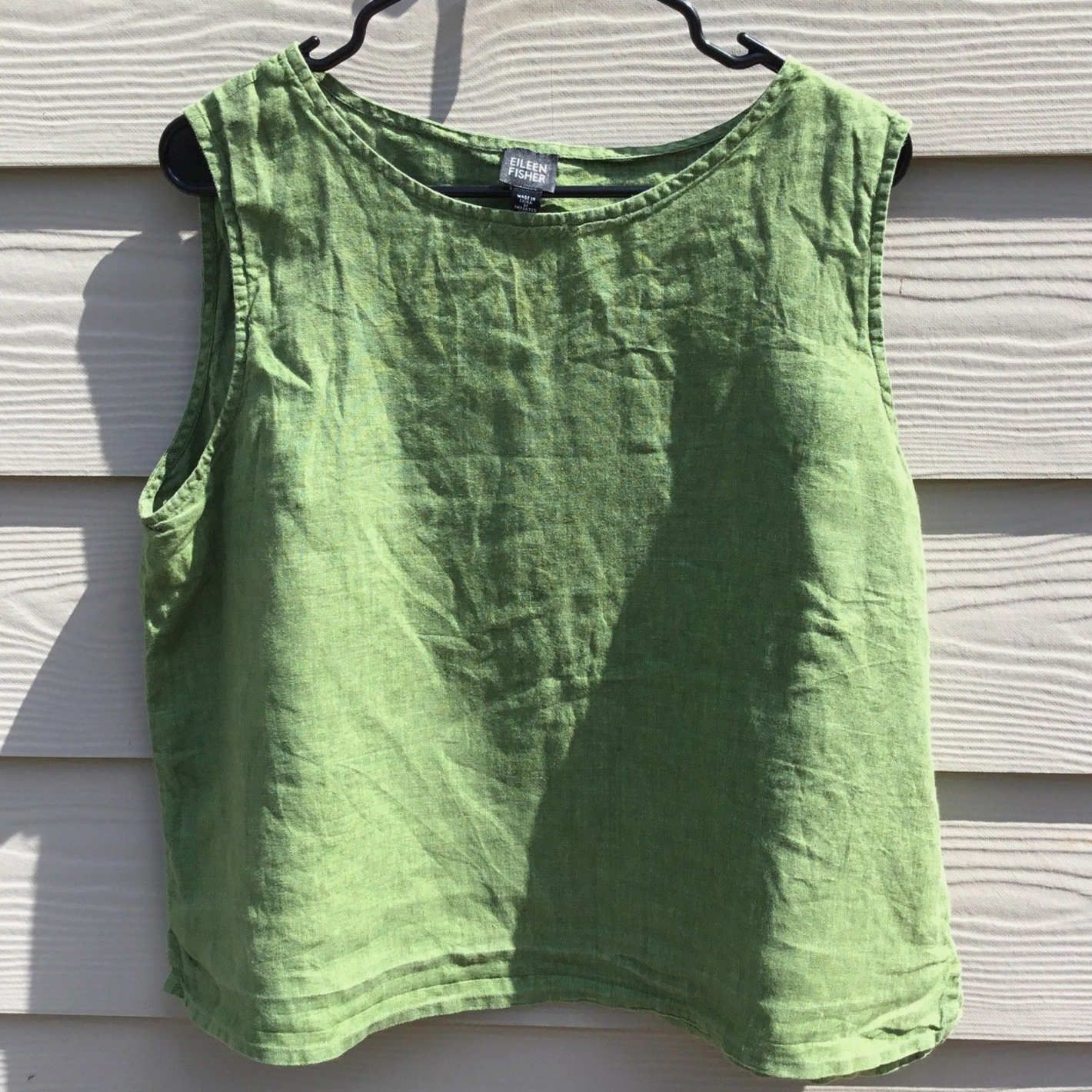 Eileen Fisher Green 100% Irish Linen Sleeveless Blouse