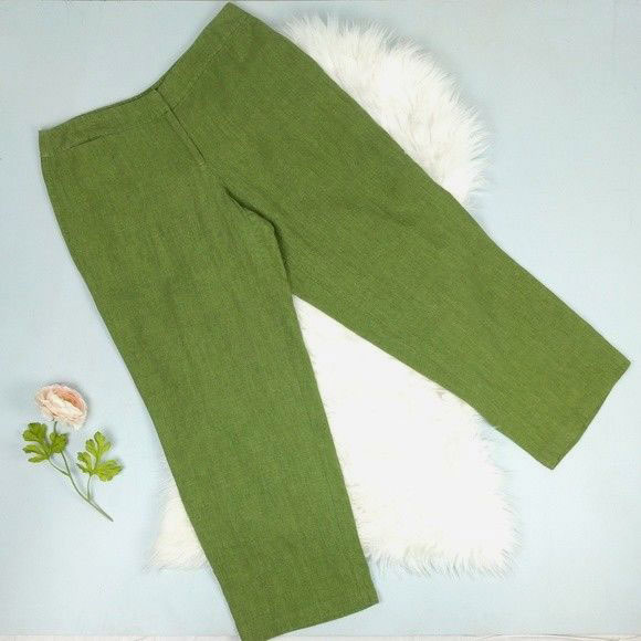 Eileen Fisher Green Irish Linen Clamming Pants