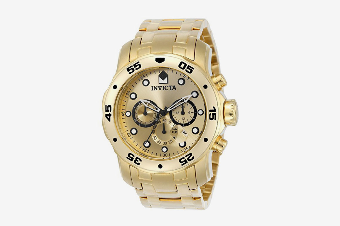 Invicta Men's Pro Diver Analog Japanese Quartz 18k Gold-Plated Stainless Steel Watch