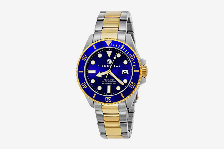 Henry Jay Men's 23K Gold Plated Two Tone Stainless Steel Specialty Aquamaster Professional Dive Watch
