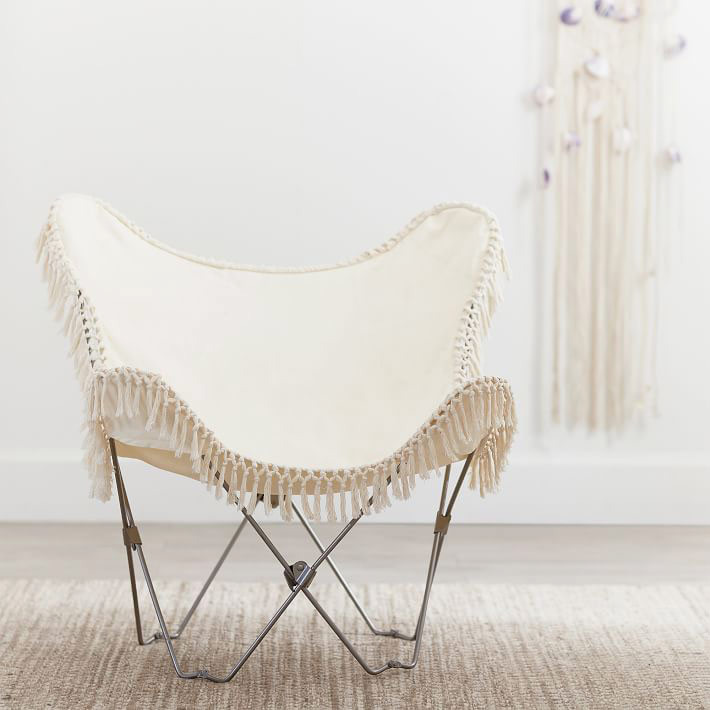 PB Teen Ivory Canvas Butterfly Chair