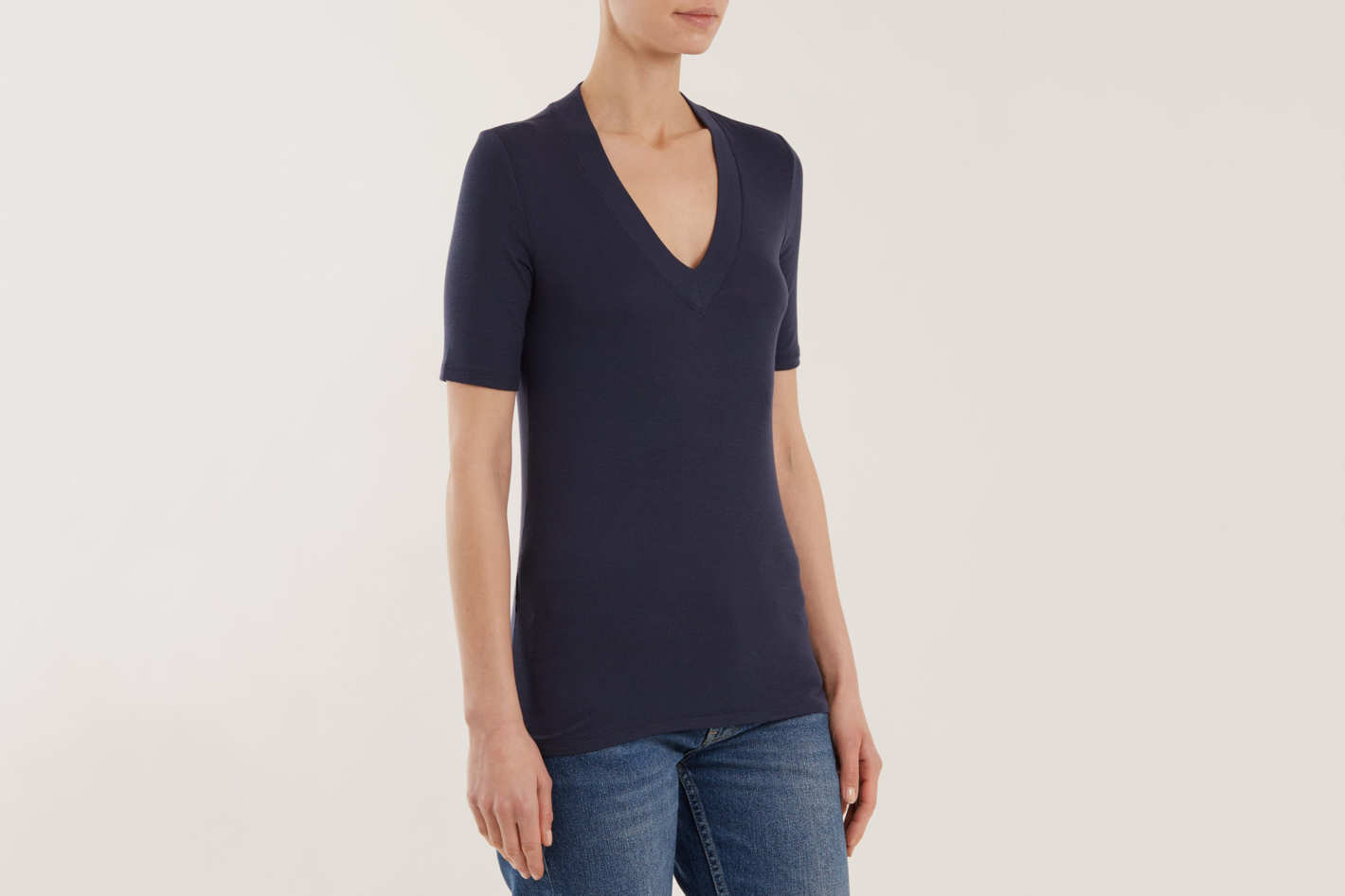 ATM V-Neck Ribbed-Knit T-shirt