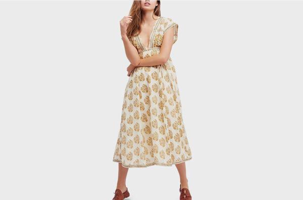 Free People Riakaa Cotton Printed Midi Dress