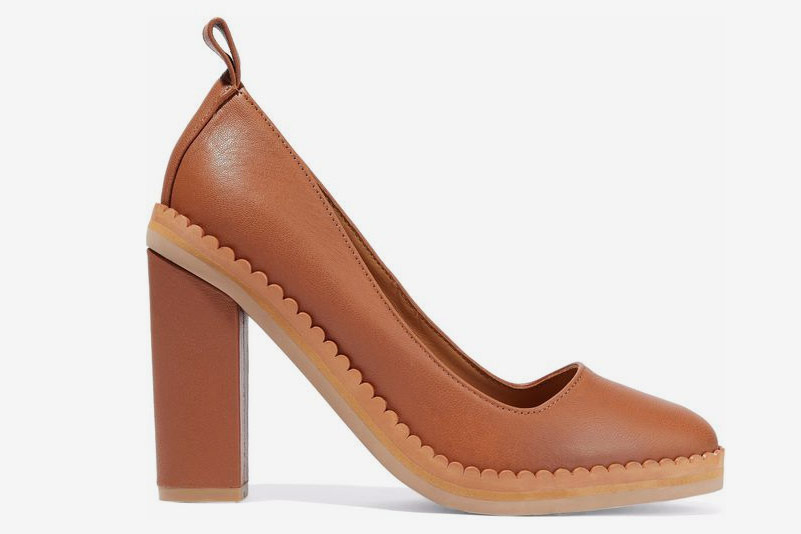 See by Chloé Scalloped Textured-Leather Pumps