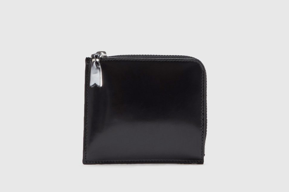 Comme des Garçons Half Zip Wallet, Black/Silver