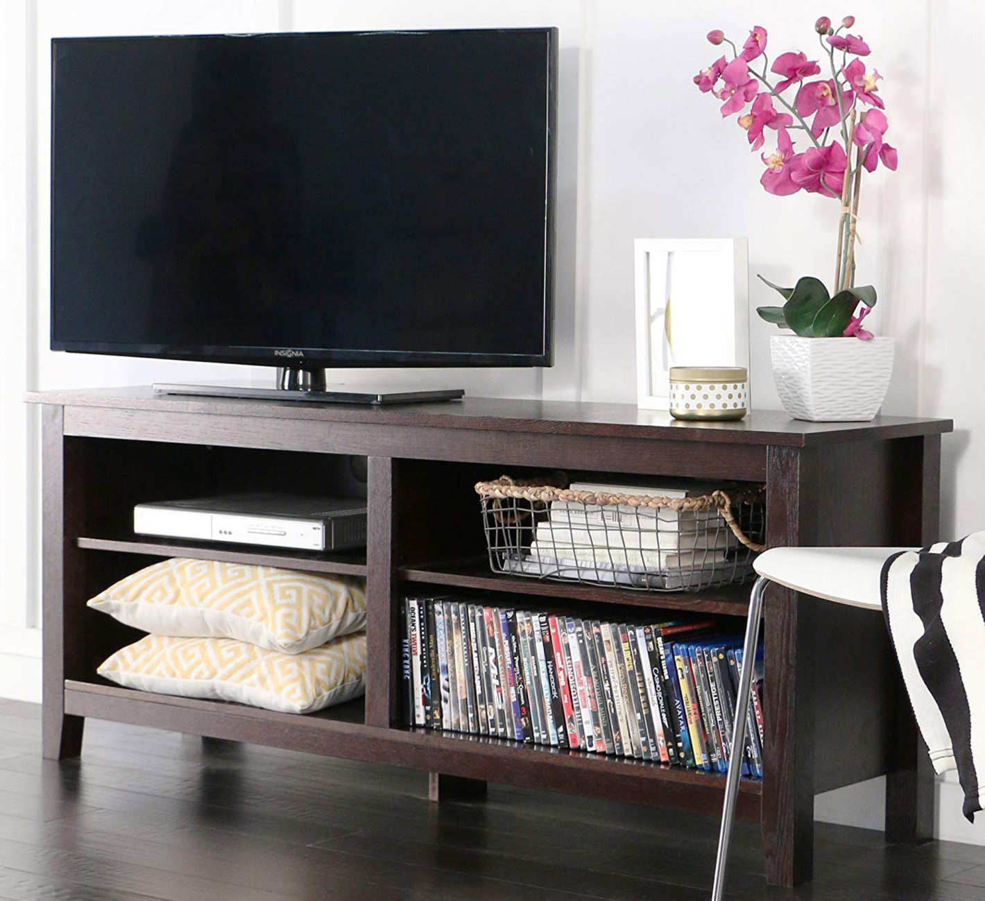 WE Furniture 58-Inch Wood TV Stand Storage Console