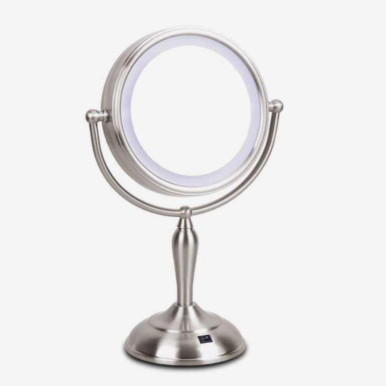 Mirrormore Lighted Vanity Mirror with 1x/10x Magnifying, 7.5 Inch Double Sided Mirror With Stand