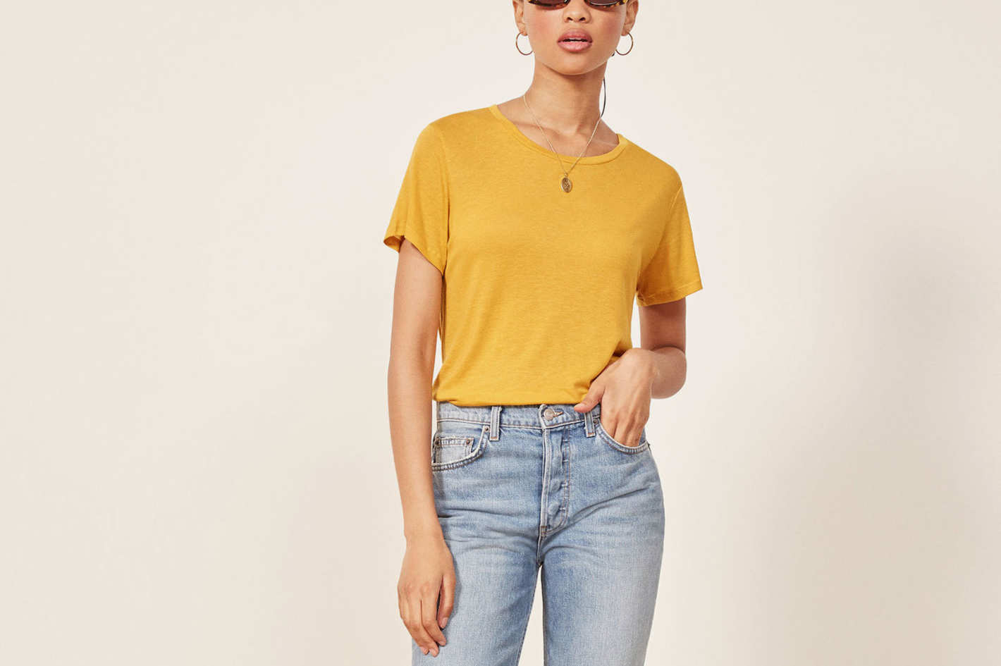 Reformation Flax Relaxed Crew Tee