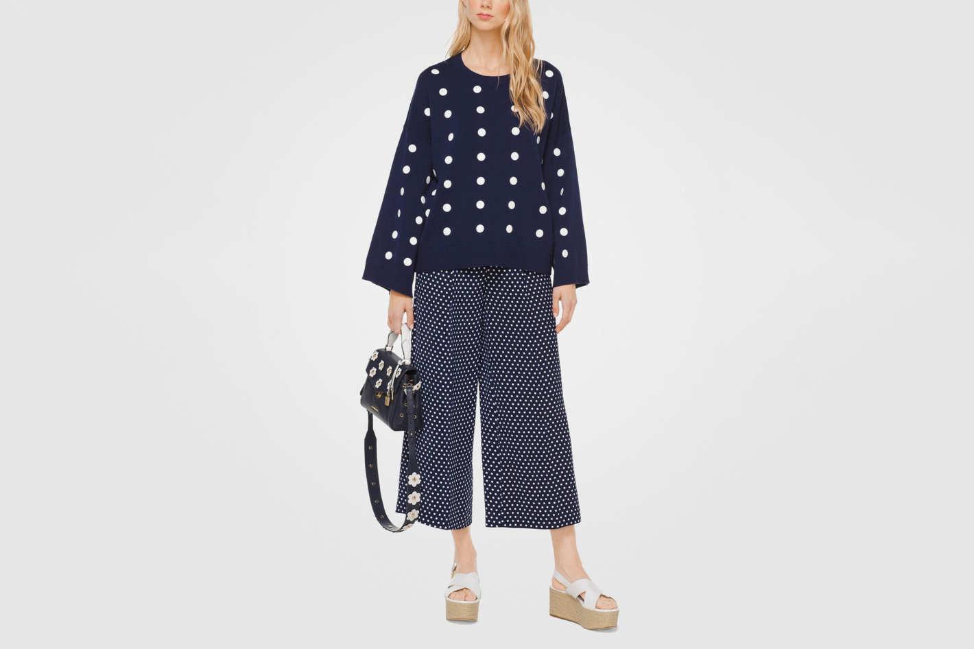Michael Kors Polka Dot Cotton Oversized Pullover