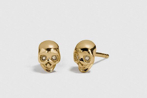 Coach Mini Demi-Fine Skull Stud Earrings