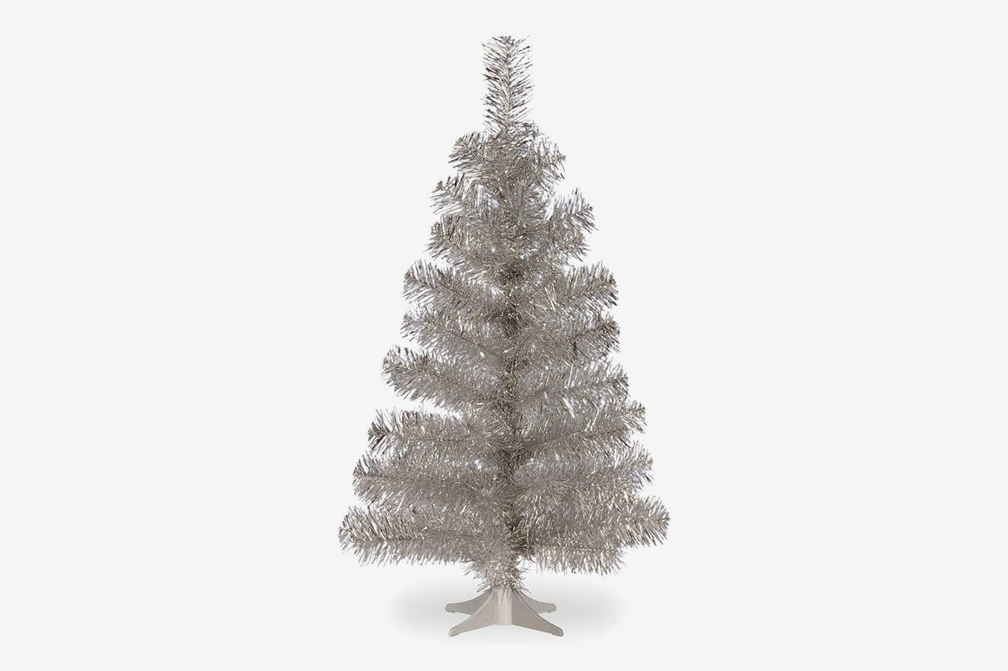 national tree 3 foot silver tinsel tree with plastic stand
