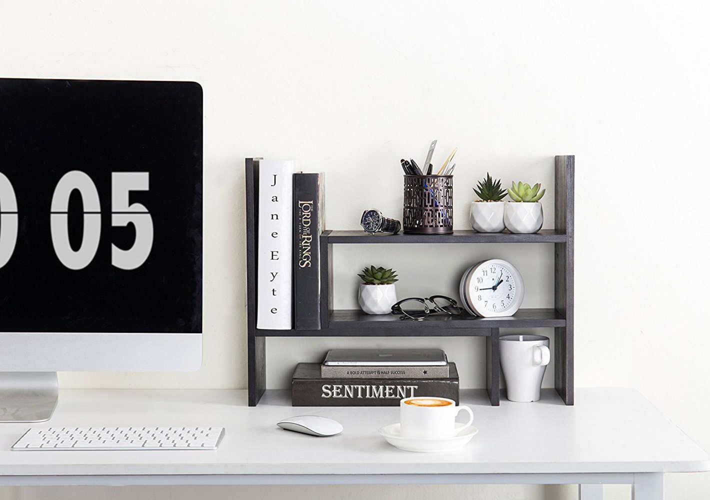 MyGift Adjustable Wood Desktop Bookcase