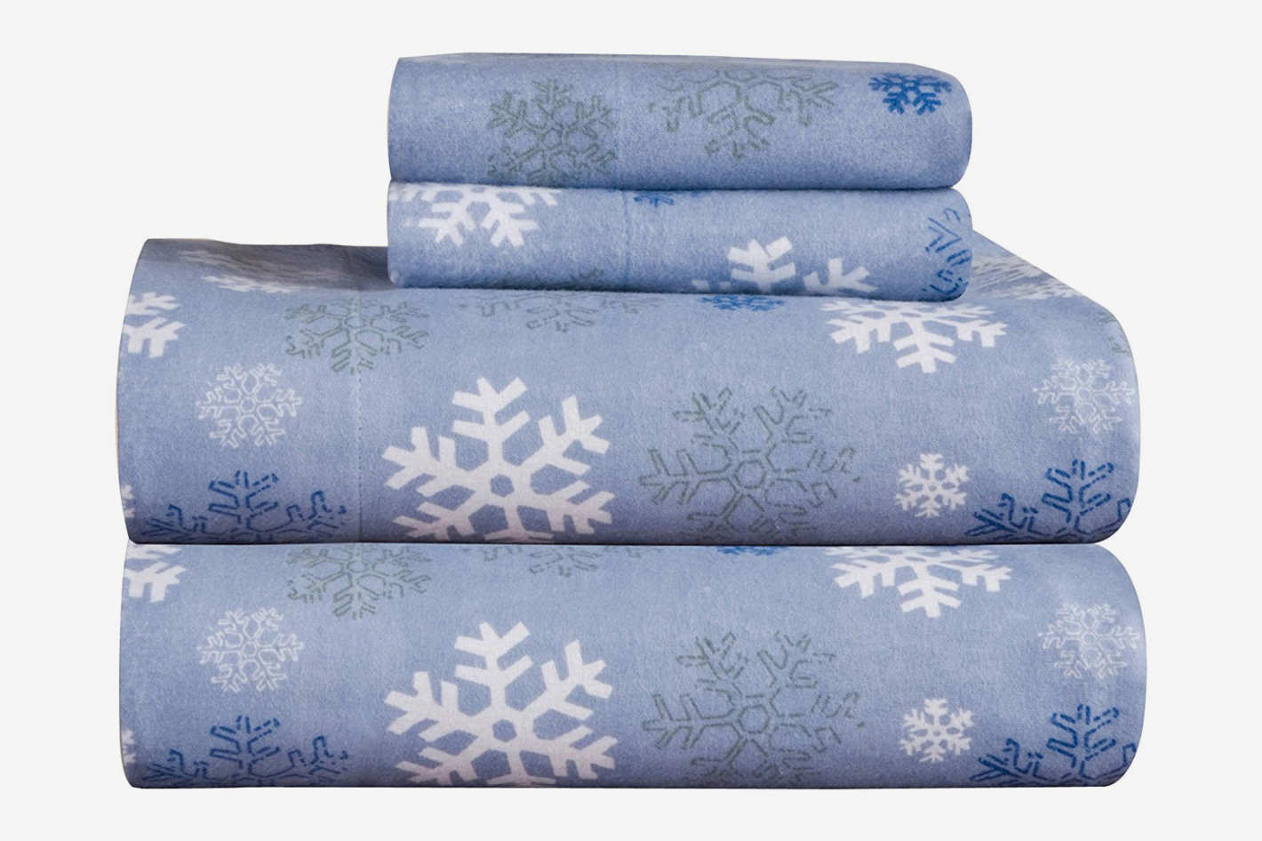 Pointehaven Heavy Weight Snow Flakes Printed Flannel Cotton Sheet Set Queen