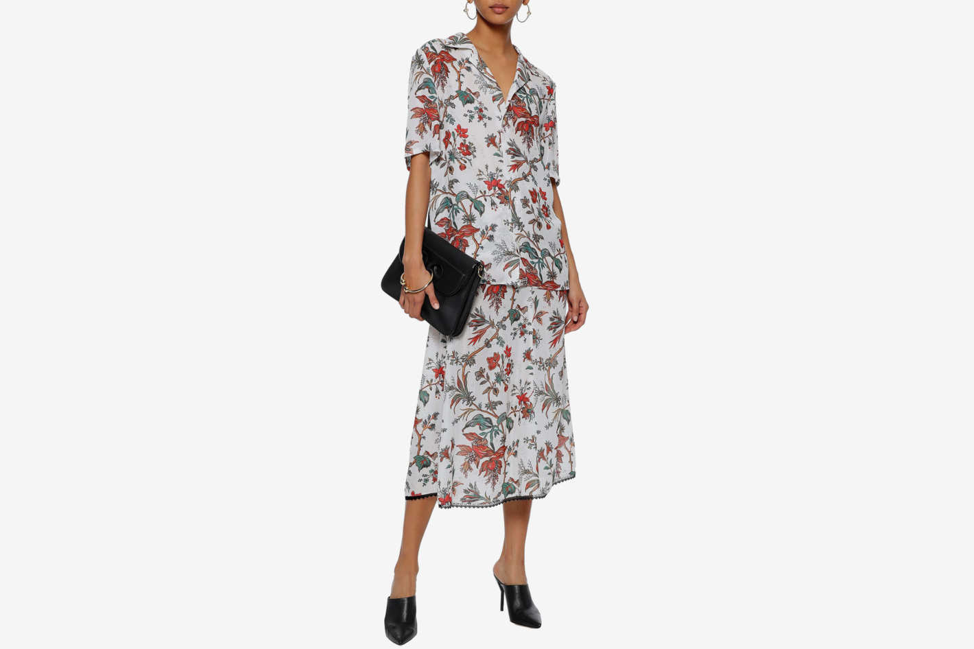 McQ by Alexander McQueen Printed Satin-Paneled Floral-Print Crepe Shirt