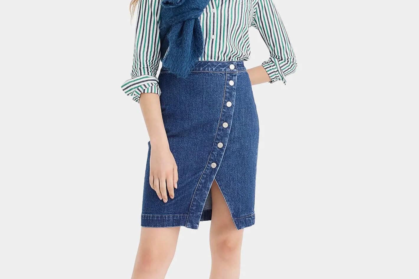J.Crew Denim Asymmetrical Side-Button Pencil Skirt
