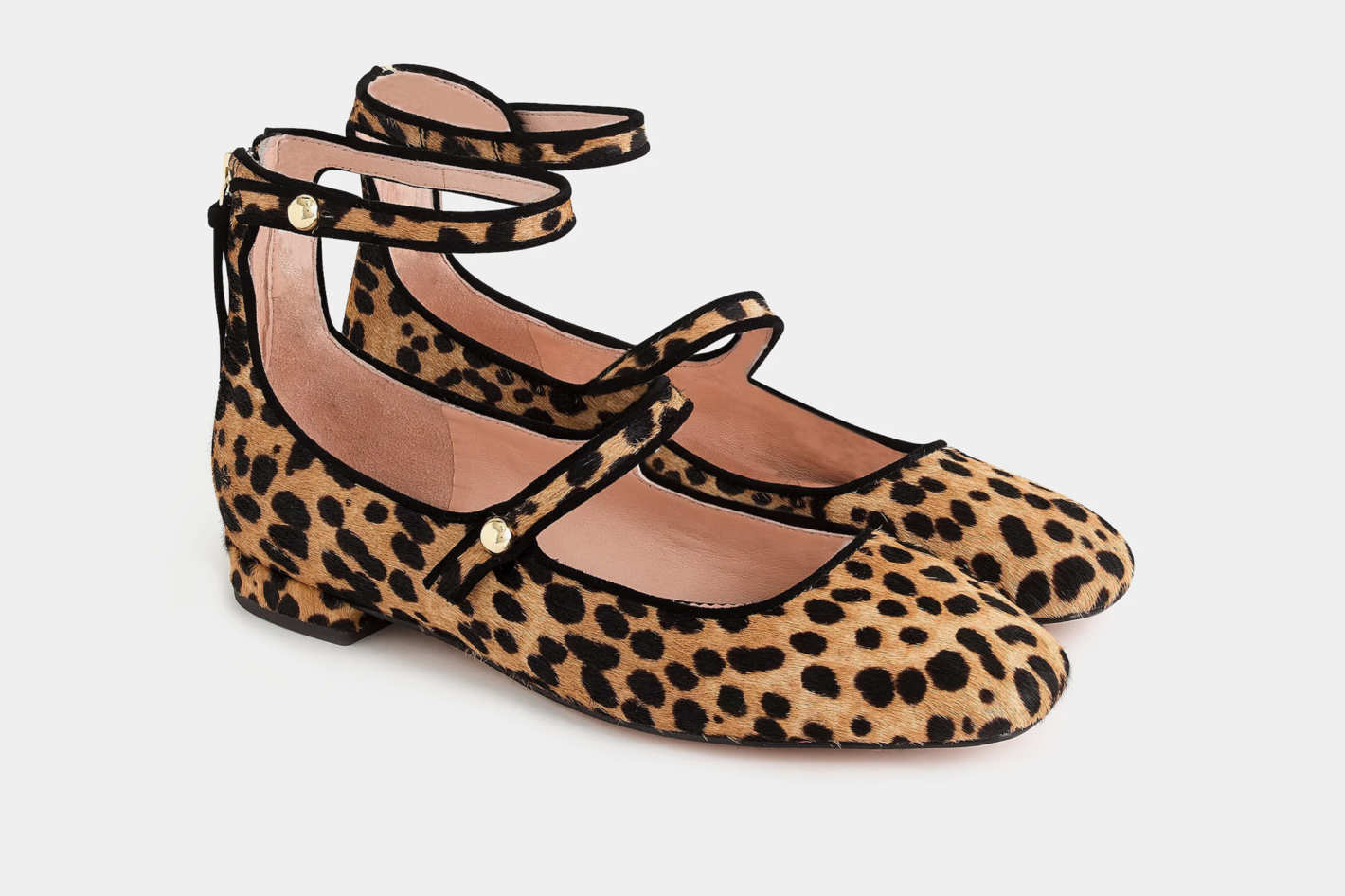 J.Crew Poppy Two-Strap Ballet Flats in Leopard Calf Hair